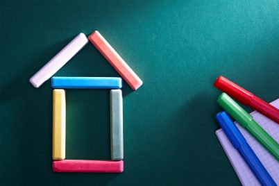 Structure of a house built up using colored bars.