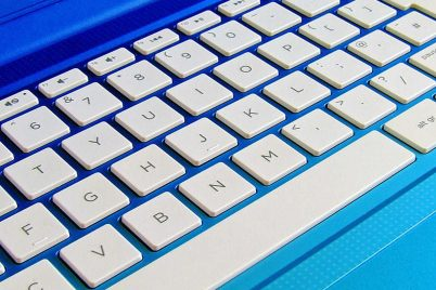 A keyboard to represent technology.